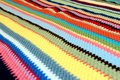 Colorful crocheted stripes background multi colored of a crochet blanket photographed close up for detail Stock Photos
