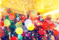 Colorful crowd on concert,disco night ,dancing concept,party and night club background Royalty Free Stock Photo