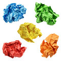 Colorful crumpled paper balls in blue green yellow red and orange isolated on a white background Royalty Free Stock Photo