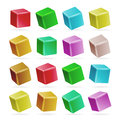 Colorful Cube 3d Set Vector. Perspective Empty Models Of A Cube Isolated On White. Playing Child Toys