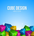 Colorful cubes blue background Royalty Free Stock Photos