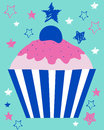 Colorful cupcake cartoon illustration of with starry background Stock Photo