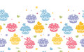 Colorful cupcake party horizontal seamless pattern vector background with hand drawn elements Stock Image