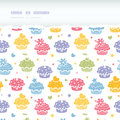Colorful cupcake party horizontal torn seamless pattern background vector with hand drawn elements Stock Image