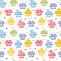 Colorful cupcake party seamless pattern background vector with hand drawn elements Royalty Free Stock Images