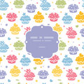 Colorful cupcake party seamless pattern background vector with hand drawn elements Royalty Free Stock Photos