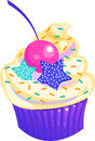 Colorful cupcake vector illustration of a Royalty Free Stock Photography
