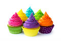 Colorful cupcakes against a white background Royalty Free Stock Image