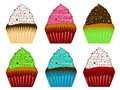 Colorful Cupcakes Frosting and Chocolate Chips Royalty Free Stock Photo