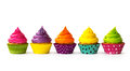 Colorful cupcakes on a white background Royalty Free Stock Photos