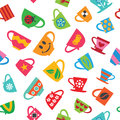 Colorful cups seamless pattern vector illustration Royalty Free Stock Photos
