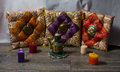 Colorful cushions in Oriental style ceramic teapot and colored b Royalty Free Stock Photo
