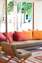 Colorful cushions on the outdoor lounge Stock Image