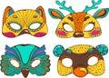 Colorful cute animal masks