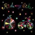 Colorful cute doodle bicycles vector illustration Royalty Free Stock Photo