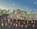 Colorful cute happy cartoon people on suburb neighborhood on christmas night Royalty Free Stock Image