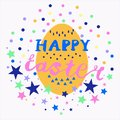 Colorful cute Happy Easter postcard with lettering, egg, stars, dots, triangles in a circle composition