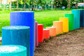 Colorful cylinder shape on the kid playground Royalty Free Stock Photo