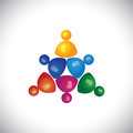 Colorful d children or kids playing icons or signs vector graphic this illustration can also represent employee meetings diversity Royalty Free Stock Images