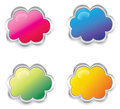 Colorful d cloud collection set create by Royalty Free Stock Photos