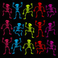 Colorful Dancing Skeletons Stock Photography
