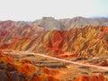 Colorful Danxia Topography at Zhangye,Gansu,China Royalty Free Stock Photo