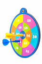 Colorful dartboard with arrows over white Royalty Free Stock Images