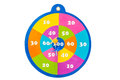 Colorful dartboard with arrows on over white Stock Photo