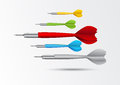Colorful darts background illustration of on gray Stock Photos