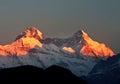 Colorful dawn scene on mount Nanda devi Royalty Free Stock Photo