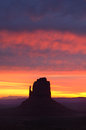 Colorful dawn skies east mitten butte monument valley sunrise navajo permit on file Royalty Free Stock Image