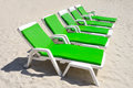 Colorful of deck chairs on the beach in sunny day pattaya thailand Stock Photography