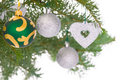 Colorful decorations on pine branch Stock Image