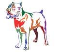 Colorful decorative standing portrait of dog Cane corso italiano