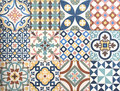 Colorful, decorative tile pattern patchwork design Royalty Free Stock Photo