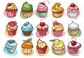 Colorful delicious cupcakes vector illustration Royalty Free Stock Photo