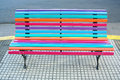 Colorful design bench on the street park Royalty Free Stock Photo
