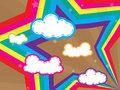Colorful design with clouds and rainbows star back Royalty Free Stock Photo