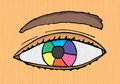 Colorful designer eye vector cartoon Stock Photos