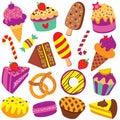 Colorful desserts clip art set