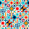 Colorful diagonal geometric tiles seamless pattern, vector