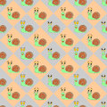 Colorful diamond children pattern with funny carto cartoon snails vector art Stock Photos