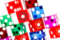 Colorful dice casino gambling from las vegas nevada on a white background Royalty Free Stock Image