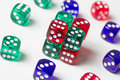 Colorful dices background isolated on white Royalty Free Stock Photo