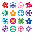 Flower head vector icons set - nature, plants, spring design collection Royalty Free Stock Photo