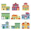 Colorful different houses with modern facade. Front view vector illustrations set