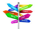 Colorful direction sign of life balance isolated on white background d render Stock Photo