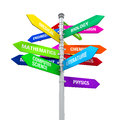 Colorful direction sign of majors isolated on white background d render Royalty Free Stock Photos
