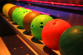 Colorful disco bowling balls Royalty Free Stock Photo