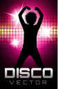 Colorful disco party poster silhouette Stock Photography